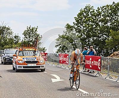 Велосипедист Romain Sicard Редакционное Фотография