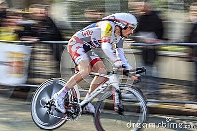 Велосипедист Willems frederik Париж славное Prol 2013 Редакционное Изображение