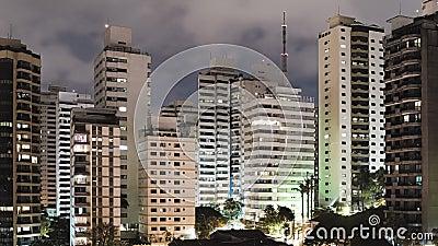 Видео Сан-Паулу в Тимелапсе ночью акции видеоматериалы