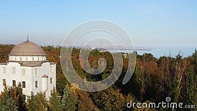 вид с воздуха Мечеть среди деревьев осени в городе Mariupol видеоматериал