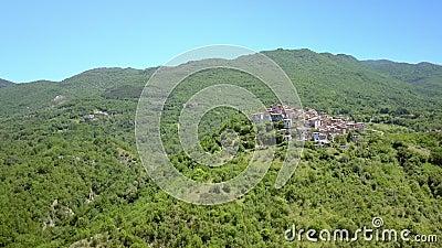 Вид с воздуха на деревья и дома в Петрелло Сальто сток-видео