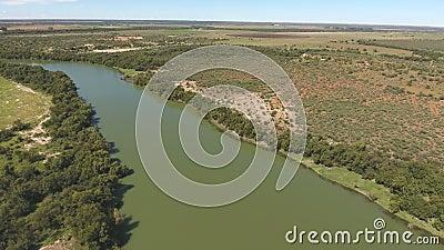 Вид с воздуха реки Vaal - Южной Африки акции видеоматериалы
