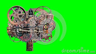 Винтажная машина Steampunk промышленная, изолированный зеленый экран акции видеоматериалы