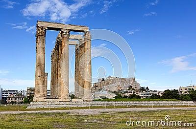 Висок Zeus олимпийца, Афиныы, Греции