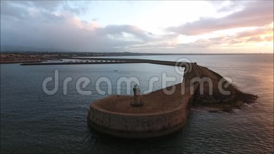 вид с воздуха Маяк Laoghaire Dun dublin Ирландия сток-видео