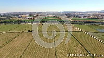 Вид с воздуха сжатых полей сток-видео