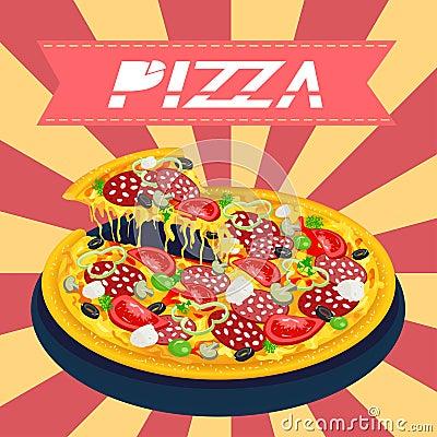 Вкусная пицца ретро
