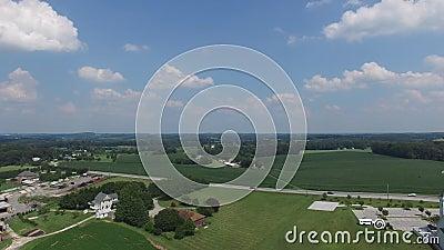 Воздух от фермы до церкви, сельская община в Мэриленде, США акции видеоматериалы
