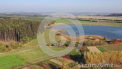 Воздушное видео типичного европейского разводя пруда Красивая страна с полями, лесами и прудами сток-видео