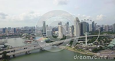 Воздушные кадры с Flyer Синапаре, беспилотники уходят с колеса обозрения, Сингапур акции видеоматериалы