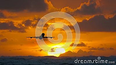 Воздушные судн летая над изумительным тропическим океаном на восходе солнца Назначения перемещения Доминиканской Республики акции видеоматериалы