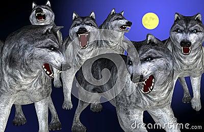 Стоковое фото rf волки эскиза