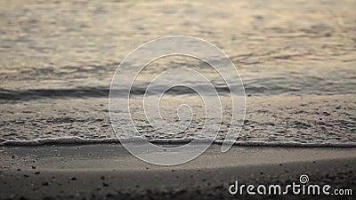 Волны берега моря лета небольшие брызгают сток-видео