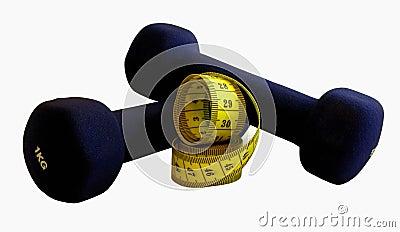 гантели измеряя ленту