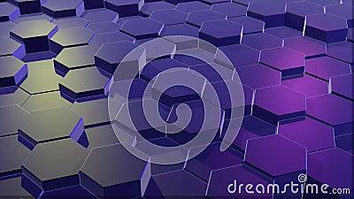 Голубая решетка сота с тусклым светом шестиугольные столбцы двигая вверх и вниз случайно сток-видео