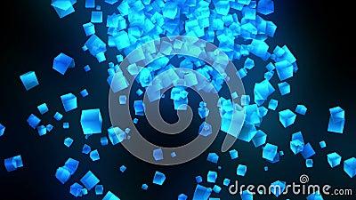 Голубые кубы на черной предпосылке Соединение кубов 3d с геометрическое полигональным E cyberspace Символ дела иллюстрация штока