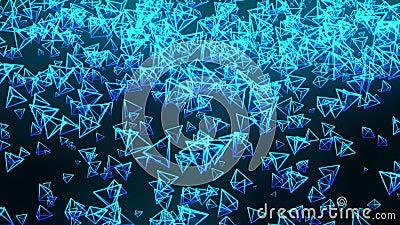 Голубые пирамиды на черной предпосылке Соединение пирамиды 3d с геометрическое полигональным E cyberspace Sym дела иллюстрация штока