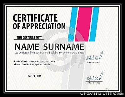 Горизонтальный шаблон сертификата диплом размер письма вектор  Горизонтальный шаблон сертификата план диплома размер письма вектор