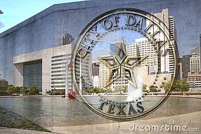 Город знака и здание муниципалитета Далласа TX