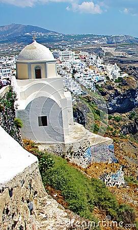 городок santorini острова fira