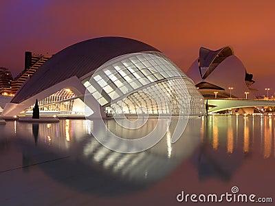 город valencia искусств Редакционное Стоковое Изображение