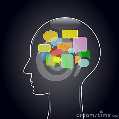 Голова с пузырями мысли