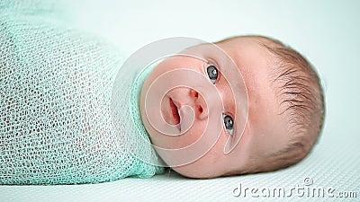 Голубоглазый newborn младенец лежа и смотря вокруг в интересе сток-видео