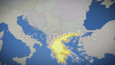 Греция на карте Европы Страна вытягивает вне background card congratulation invitation сток-видео