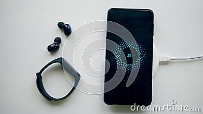 Группа в составе устройства получает порученной беспроводным заряжателем телефона сток-видео