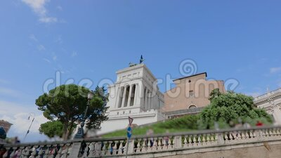 Дворец сенаторов Рим Италия Лестница перед дворцом сенаторов видеоматериал