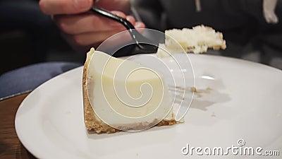 Девушка есть свежий чизкейк с вилкой пока сидящ в кухне или в кафе движение медленное видеоматериал