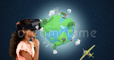 Девушка используя шлемофон виртуальной реальности с цифров произведенными значками 4k перемещения акции видеоматериалы