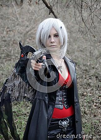 Девушка Manga, игра costume