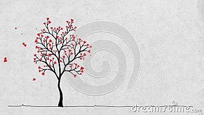 Дерево ` s валентинки сток-видео