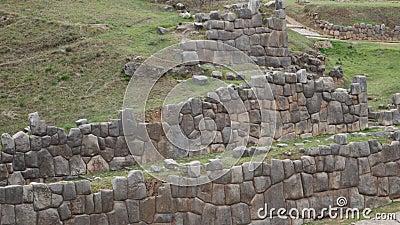 Деталь старой стены Inca в Sacsayhuaman, около Cusco, в Перу, Южная Америка акции видеоматериалы