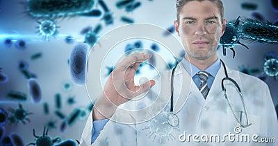 Доктор держа невидимый объект против клеток 4k бактерий акции видеоматериалы