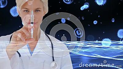 Доктор со шприцем против клеток инфекции клеток и бактерий крови сток-видео