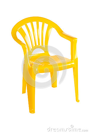 Желтый пластичный стул