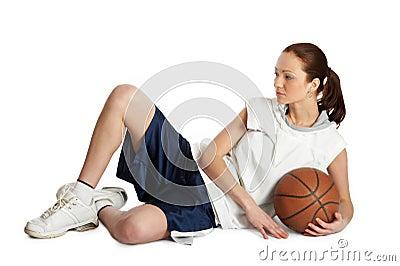 Женский игрок шарика корзины