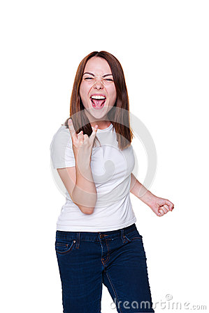 Женский gesturing знак рок-н-ролл