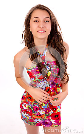 Женщина a в платье лета