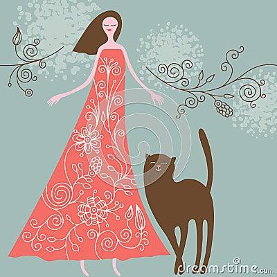 женщина кота
