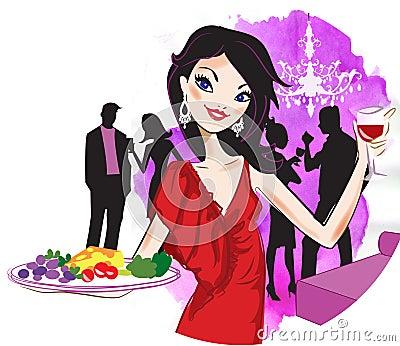 женщина сервировки еды