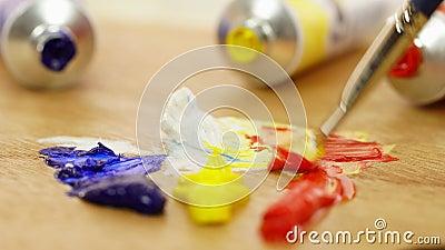 Женщина смешивает краски на палитре бело Красный bluets yellow Краски масла Палитра красок Художник подготавливает краски видеоматериал