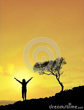 женщина солнца неба