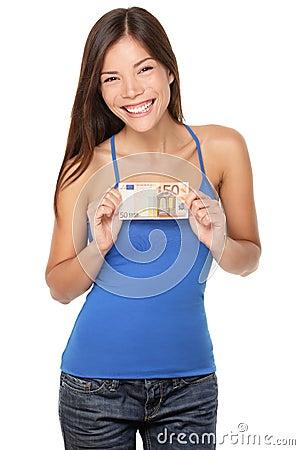 Женщина счета евро