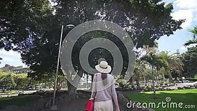 Женщина-хипстер на прогулке в парке Отпуск в теплой стране, Канарские острова, Испания акции видеоматериалы