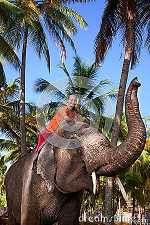 женщина riding слона