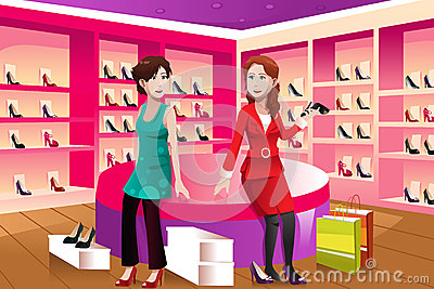 2 женщины покупая ботинки