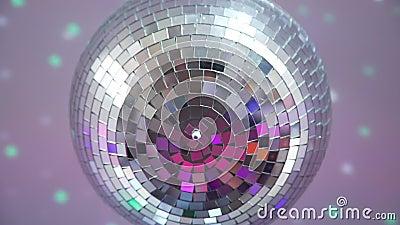 Закройте вверх шарика диско на партии акции видеоматериалы